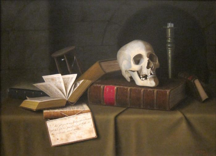 Memento Mori 'To This Favour' av William Michael Harnett, ca 1879