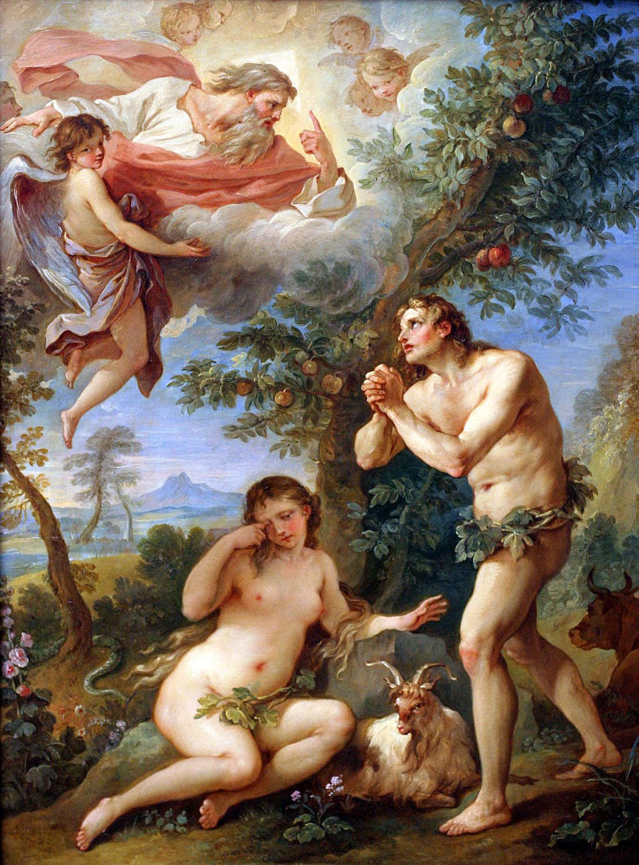Adam och Eva drivs ut ur paradiset. Målning av Natoire