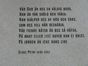 Vår Gud är oss en väldig borg skrevs av reformatorn Olaus Petri, verksam i Strängnäs. Foto: Johan Eriksson