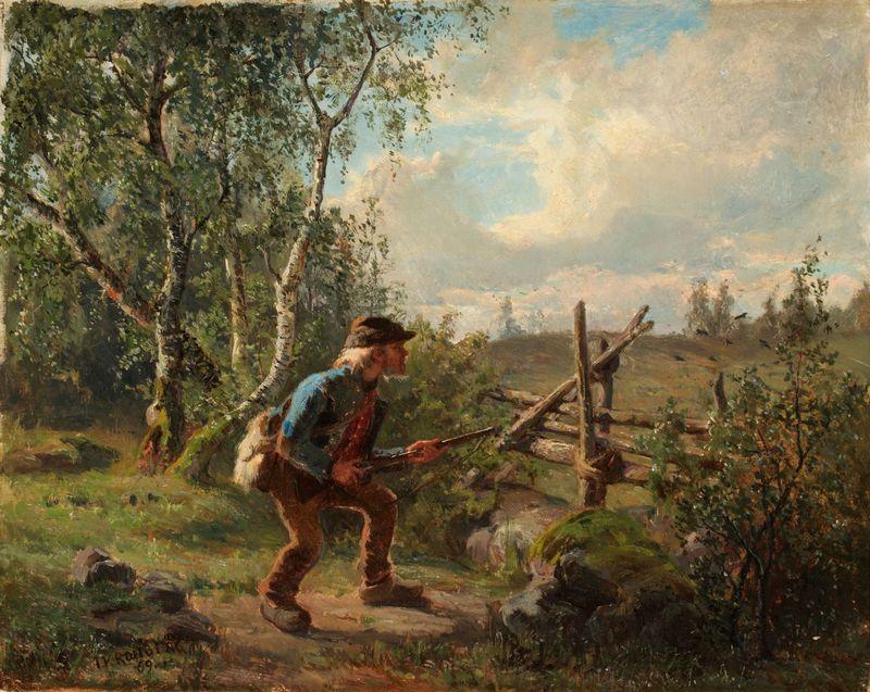Målning av JULIUS KRONBERG, Jägare vid gärdesgård