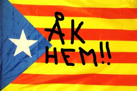 Katalansk flagga med budskapet åk hem