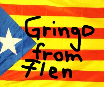 "Catalunyan flag with scribble ""Gringo from Flen"""