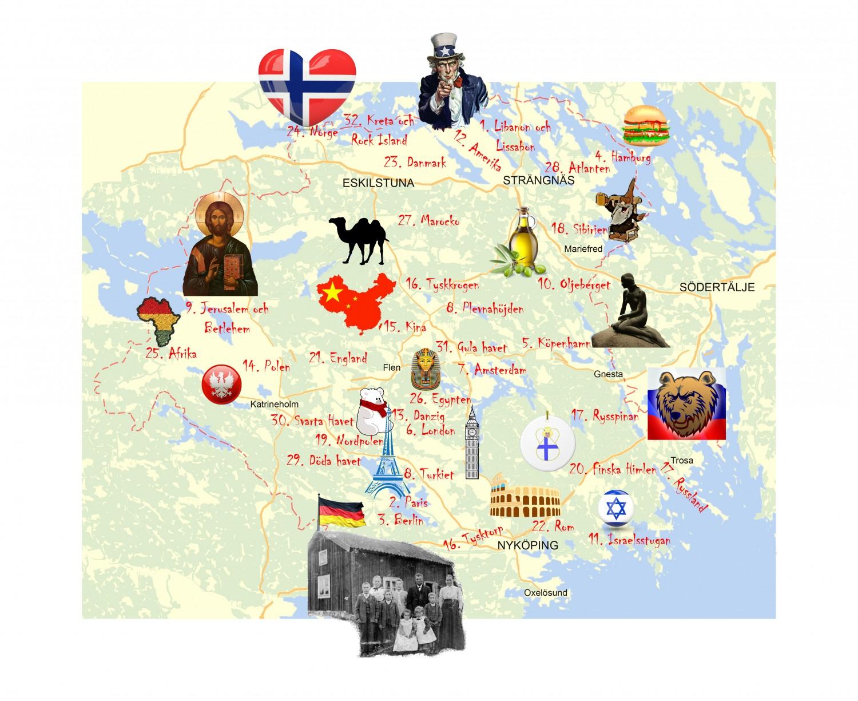 Karta över Sörmland med internationella ortnamn. Montage: Johan Eriksson