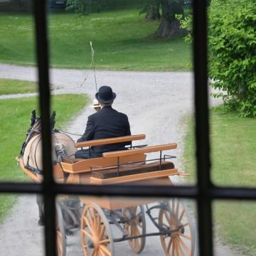 Hästdroska genom blyinfattat fönster. Foto: Johan Eriksson