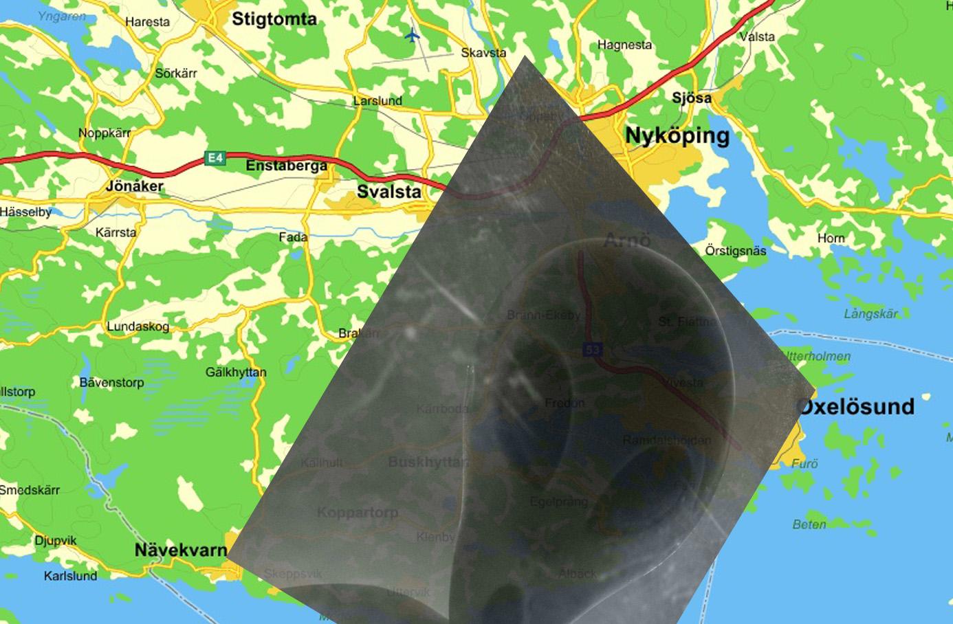 Karta illustration Sörmlands egen Bermudatriangel